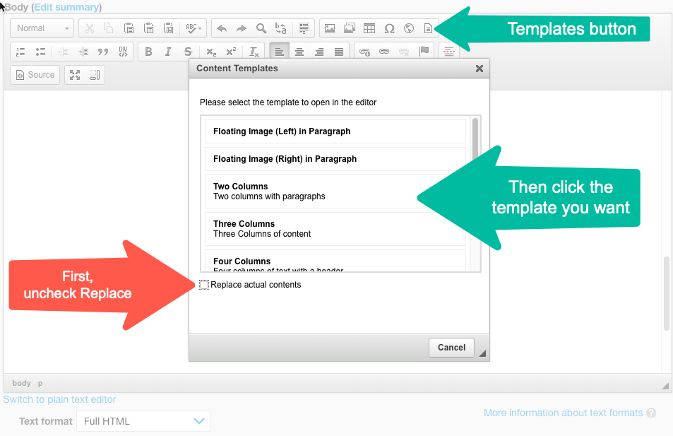 screenshot of HTML editor, with arrows pointing to Templates button, Template list, and Replace contents checkbox.