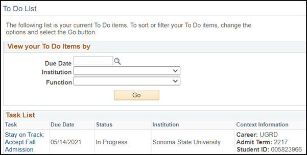 Screenshot of a To Do list with a Stay on Track task item